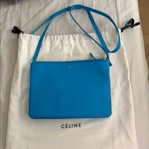 Celine Large Trio Bag in Turquoise color
